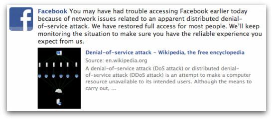 Facebook acknowledges DDoS attack