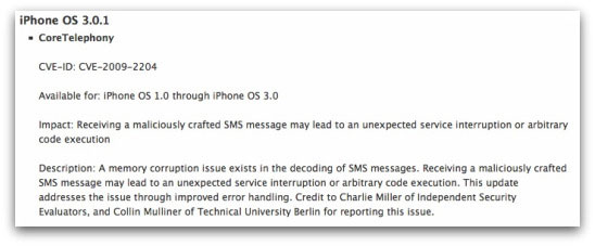 Details of iPhone SMS vulnerability from Apple