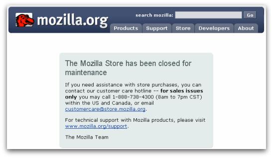 Mozilla store closed
