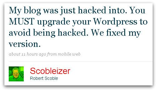 Robert Scoble tweets about security issue