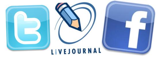 Twitter, LiveJournal, Facebook