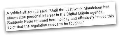 Whitehall sources on Peter Mandelson's sudden interest in Digital Britain