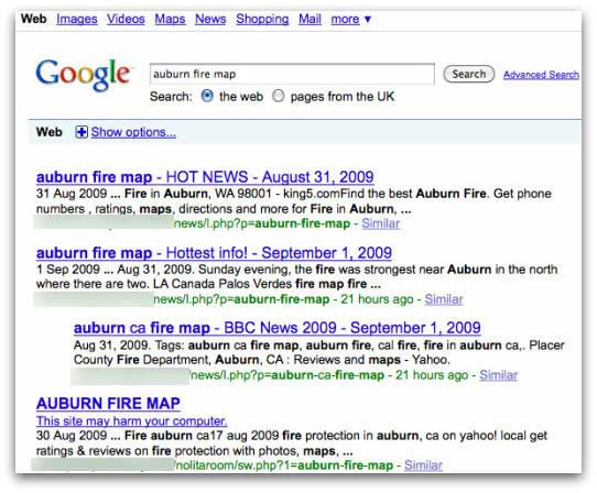 Malicious search results related to fires in California