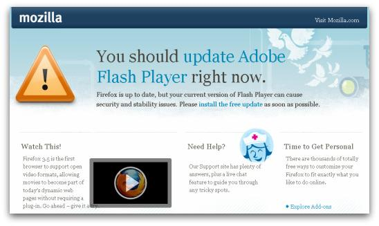 Firefox warns of out-of-date version of Adobe Flash