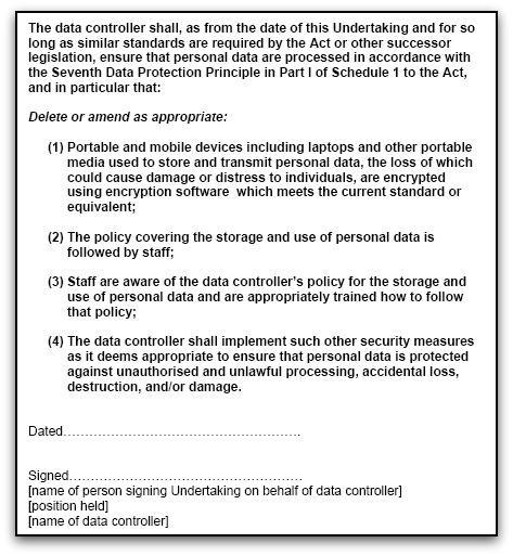 Data protection undertaking