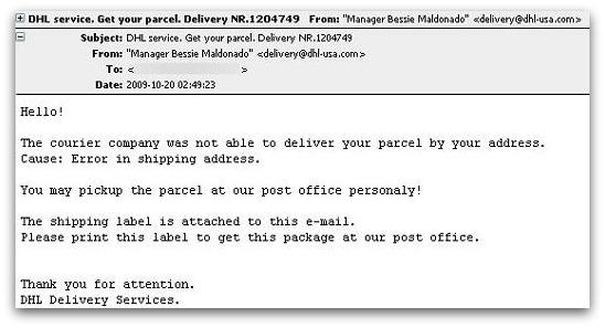Malicious DHL delivery email