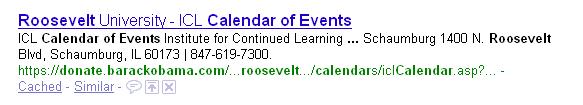 Google result for Roosevelt Univ and donate.barackobama.com