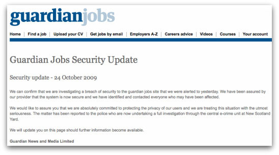 The warning posted by the Guardian Jobs website