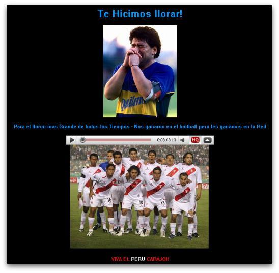 Maradona hacked website