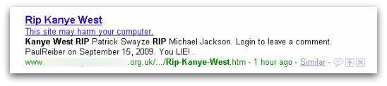 RIP Kanye West malicious webpage