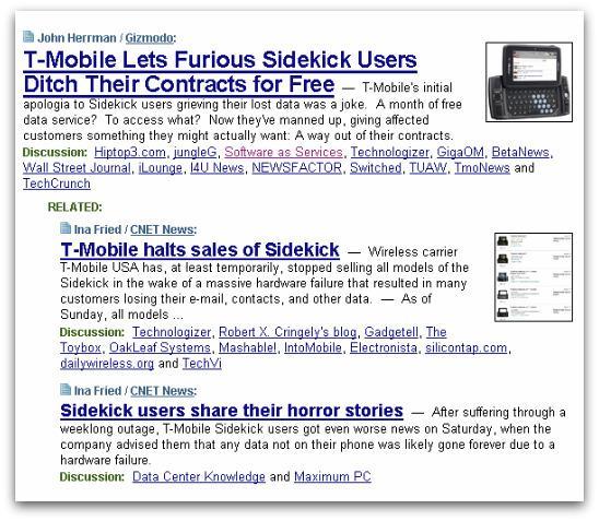 Sidekick data loss headlines