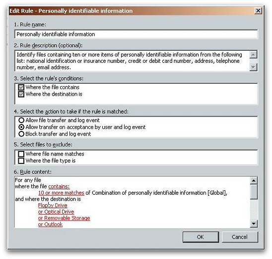 A Sophos DLP rule to prevent unauthorised movement of sensitive data