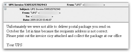 Malicious email claiming to come from UPS
