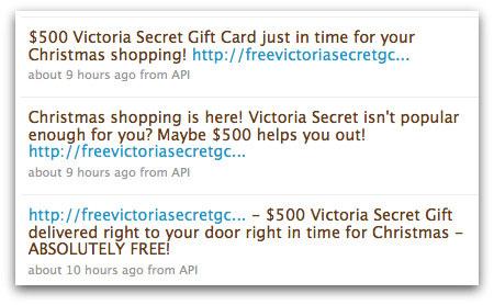 Victoria's Secret spam on Twitter