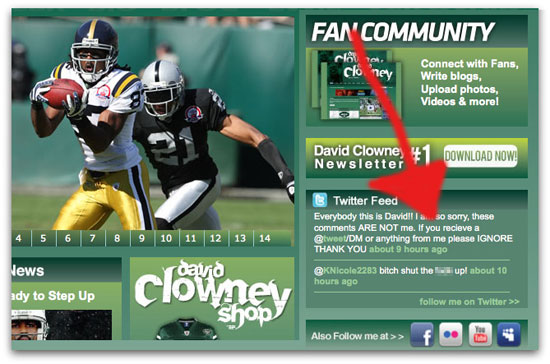 Clowney website carrying hacked Tweets