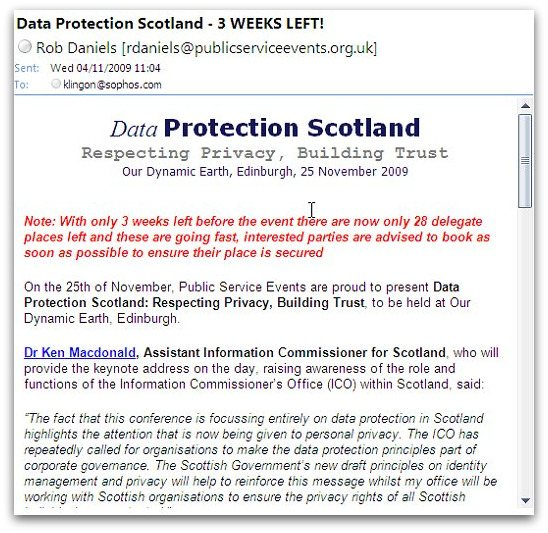 Email from Data Protection Scotland
