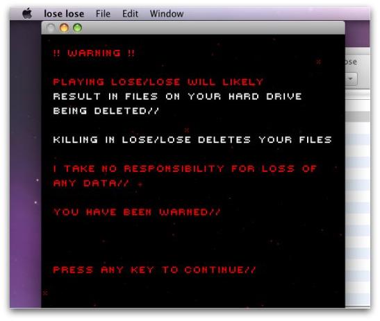 Lose Lose warning screen