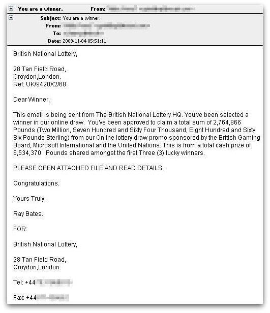 Bogus lottery email carries fake anti-virus payload