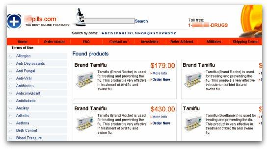 Tamiflu pharmacy website