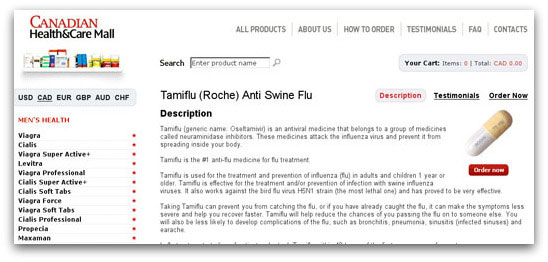 An online pharmacy selling Tamiflu