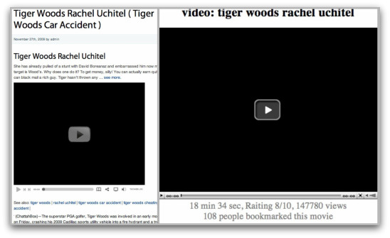 Webpages claiming to contain video content related to Tiger Woods