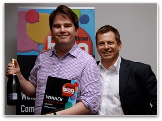 Graham Cluley wins Twitter user of the year, Pictured with computerweekly.com editor James Garner