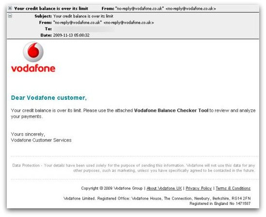 Bogus email claiming to come from Vodafone
