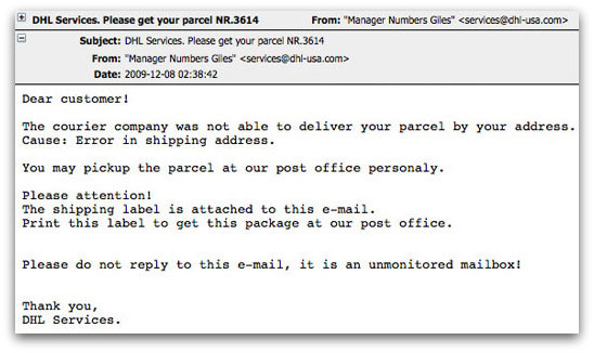 Dangerous DHL Services email, carrying malware
