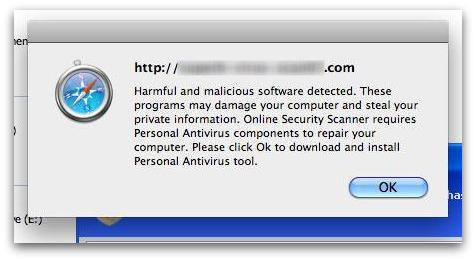 Fake anti-virus software alerts are displayed if you visit pages which claim to be about the Facebook Fan Check Virus