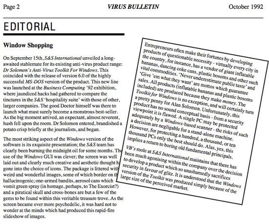 Excertp from Virus Bulletin editorial, October 1992