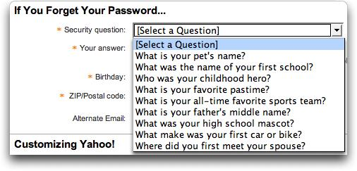 Yahoo password reminder questions
