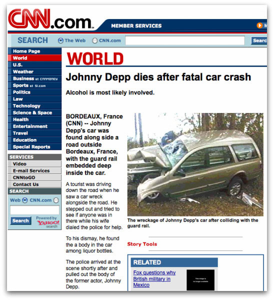 Fake CNN webpage about Johnny Depp car crash