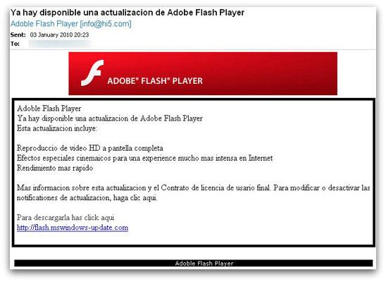 Fake flash email
