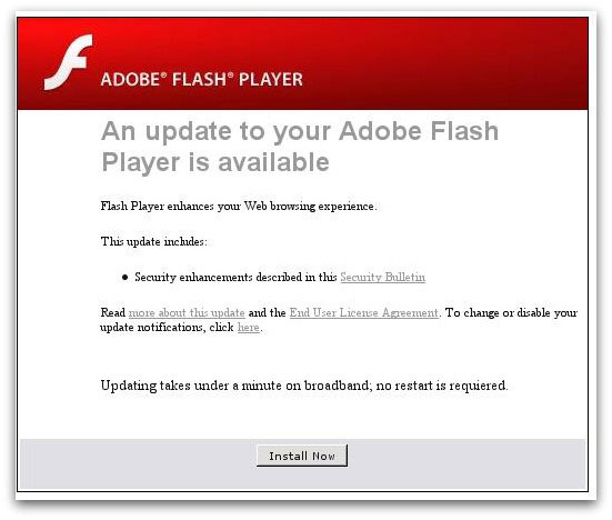 Webpage encouraging users to download a malicious Flash update