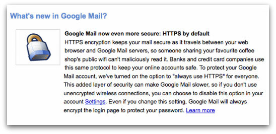 Google on enabling https in Gmail