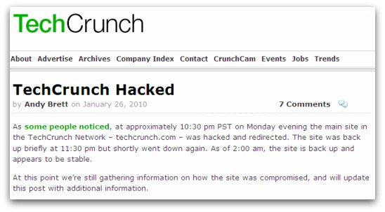Statement from TechCrunch about hack attack