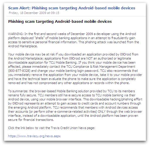 Warning on Travis Credit Union's Facebook page