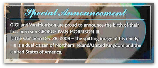 Announcement on Van Morrison's website