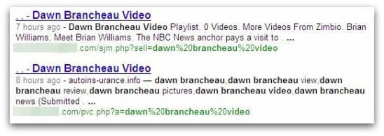 Malicious search result for Dawn Brancheau