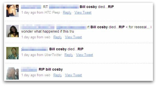 Internet users who believe Bill Cosby has died