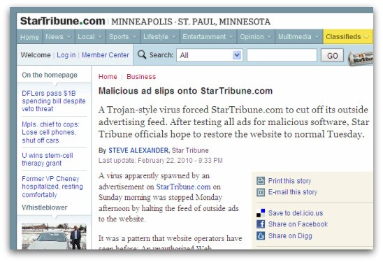 Star Tribune story about malicious adverts on its website