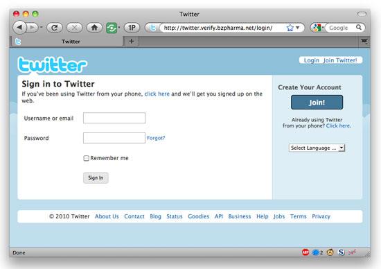 Twitter phishing website on bzpharma.net