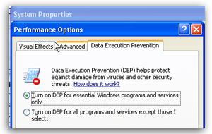 XP DEP Settings GUI