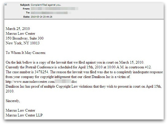Complaint filed email