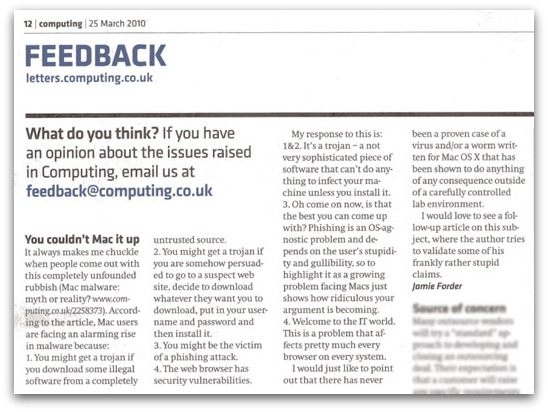 Letter in Computing, 25 March 2010