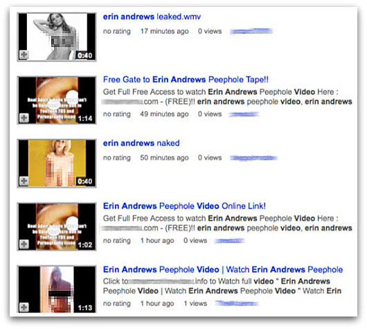 YouTube content claiming to be related to the Erin Andrews Peephole video