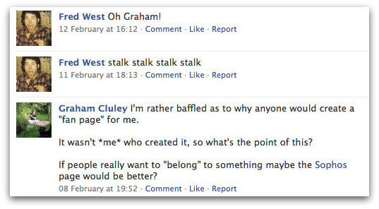 Fred West stalks Graham Cluley on Facebook