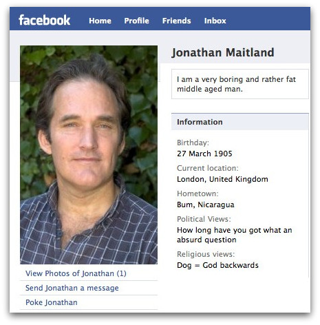 Jonathan Maitland on Facebook, with fake personal information