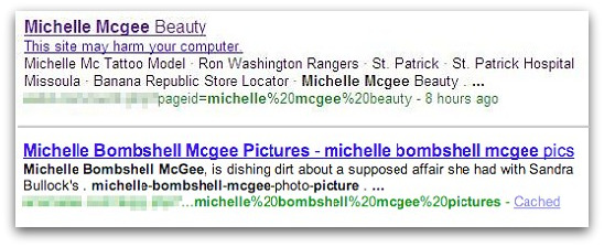 Search results about Michelle McGee can lead to dangerous websites