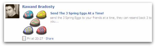Rawand Bradosty offers links to help FarmVille plays send 3 Spring Eggs